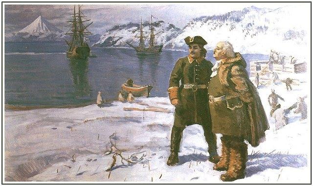 Витус Беринг и Алексей Чириков в Петропавловске-Камчатском в 1740 году